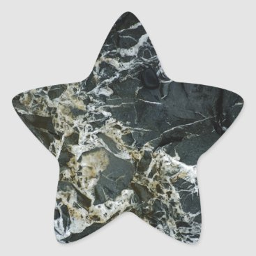 Beach Themed BLACK MARBLE ROCK Star Sticker