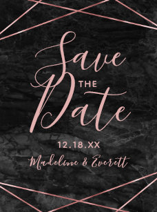 Black Marble Rose Gold Geometric Save The Date Magnet