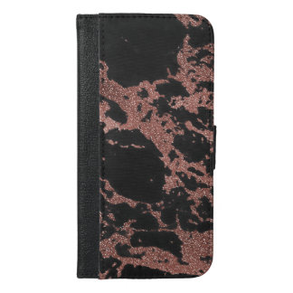 Black marble rose gold glitter texture image iPhone 6/6s plus wallet case