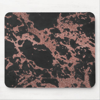 Black marble rose gold glitter texture image mouse pad