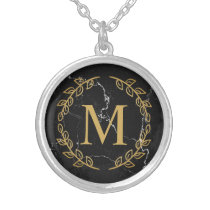 Black Marble Silver Plated Necklace