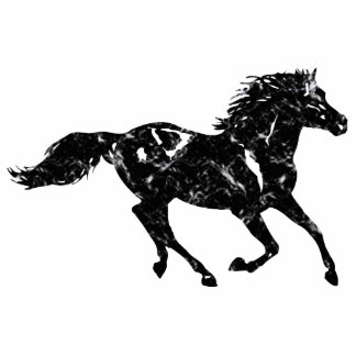 Black Marble Stallion Acrylic Sculpture Cut Outs
