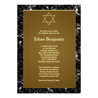 Black Marble Star of David Bar Mitzvah Invite
