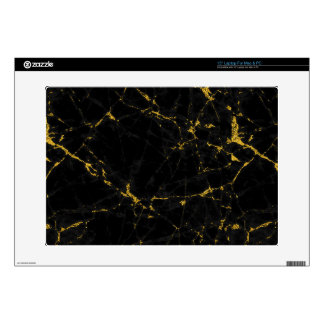 Black Marble Stone Gold Accents Laptop Decal