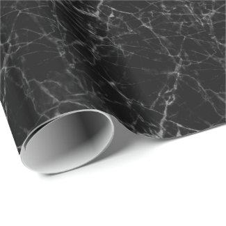 Black Marble Stone Gray Accents Wrapping Paper