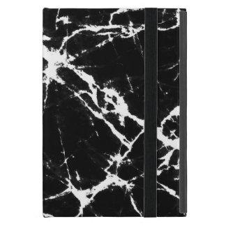 Black Marble Stone Print White Accent iPad Mini Case