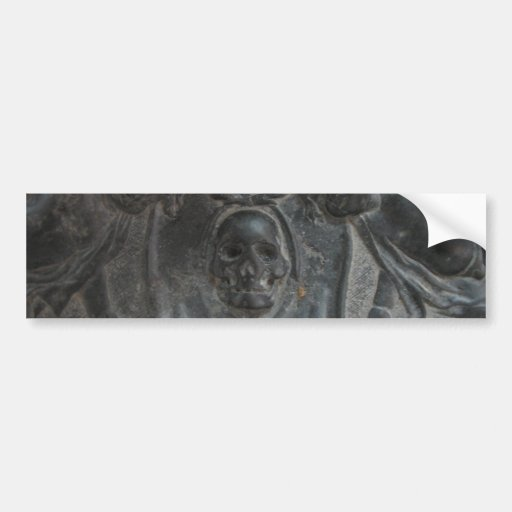 Black Marble Stone Skull Pirate Bumper Sticker