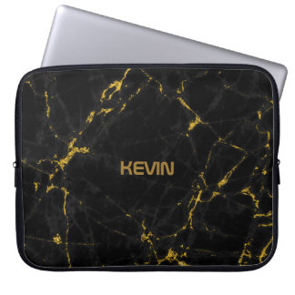 Black Marble Stone Texture Gold Accents Computer Sleeve
