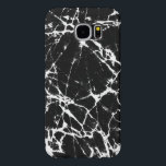 "Black Marble Stone With White Accents Samsung Galaxy S6 Case<br><div class=""desc"">Modern black marble stone print with random white grain abstract lines.</div>"