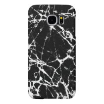 Black Marble Stone With White Accents Samsung Galaxy S6 Case