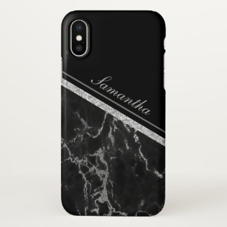 Black Marble Stone With Your Name iPhone X Case