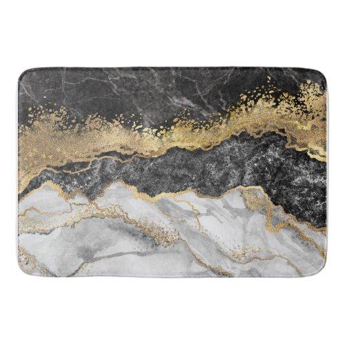 Black Marble with Gold Pretty Bath Mat