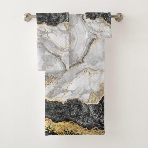Black Marble with Gold Pretty Bath Towel Set