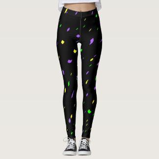 Black Mardi Gras Confetti Leggings