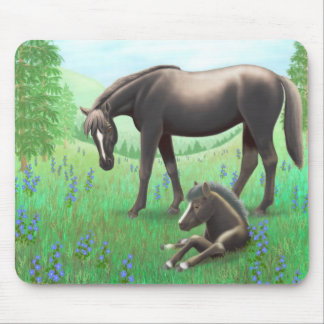 Black Mare and Foal in Pasture Mousepad