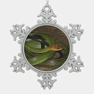 Black-margined Ratsnake or Green rat snake Snowflake Pewter Christmas Ornament