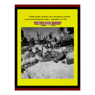 BLACK MARINES IN THE TRENCHES 1944 POSTER