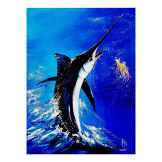 "Black Marlin ""Black Attack"" Poster"