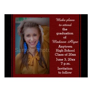 Black Maroon Photo Graduation Save the Date Card