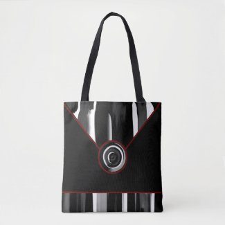 Black Maroon White Abstract Designer Tote Bag