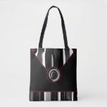 Black Maroon White Abstract Designer Tote Bag
