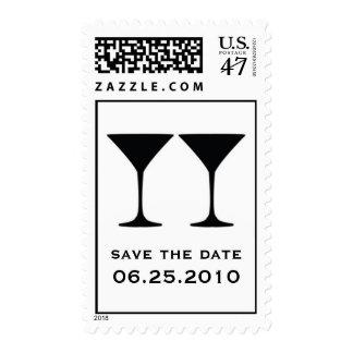 Black martini save the date wedding postage