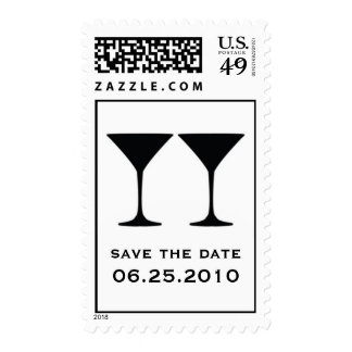 Black martini save the date wedding postage