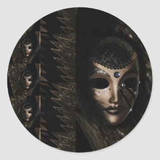 Black mask classic round sticker