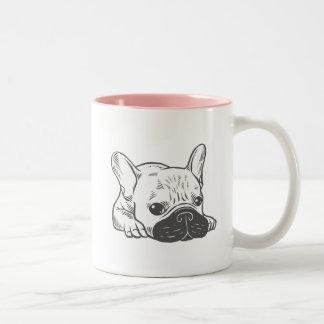 Black Mask Cream Frenchie Illustration Two-Tone Coffee Mug