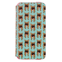 Black Mask Fawn French Bulldog is ready to play iPhone 6/6s Wallet Case