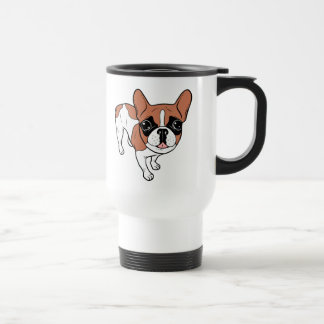Black Mask Red Pied French Bulldog Travel Mug