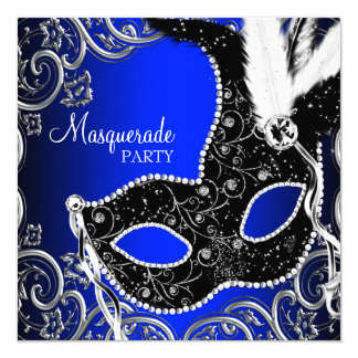 Black Mask Royal Blue Masquerade Party 5.25x5.25 Square Paper Invitation Card