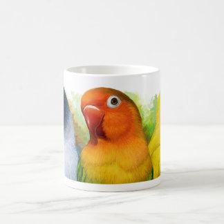 Black masked fischer's Lutino peach faced lovebird Classic White Coffee Mug