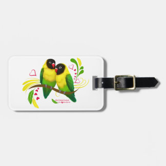 Black Masked Lovebirds Bag Tag