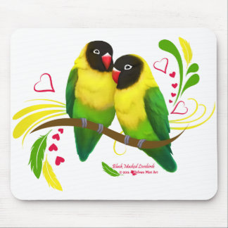 Black Masked Lovebirds Mouse Pad