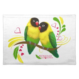 Black Masked Lovebirds Placemat