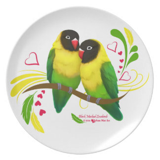 Black Masked Lovebirds Party Plate