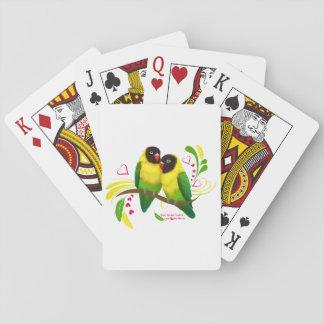 Black Masked Lovebirds Poker Deck