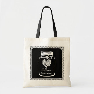Black Mason Jar Wedding Tote Bag BRIDESMAID A02