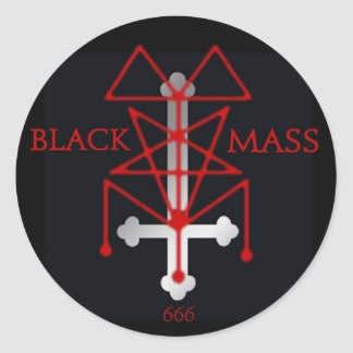 Black Mass Inverted Cross and Sigil Classic Round Sticker