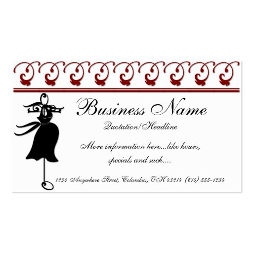 Black Maternity Dress Boutique Business Cards