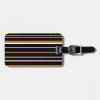 Black, Matte Gold, White Barcode Stripe Luggage Tag