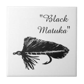 """Black Matuka"" streamer trout fly tile. Ceramic Tile"