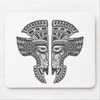 Black Mayan Twins Mask on White Mouse Pad