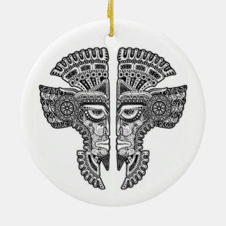 Black Mayan Twins Mask on White Double-Sided Ceramic Round Christmas Ornament
