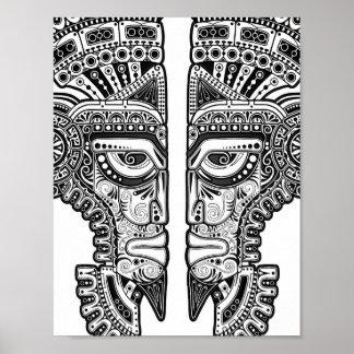 Black Mayan Twins Mask on White Poster