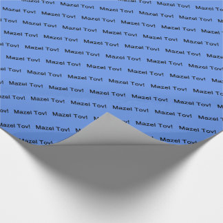 Black Mazel Tov! (Congratulations)/Cornflower Blue Wrapping Paper