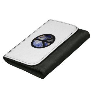Black Medium Leather Wallet World Peace Symbol