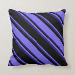 [ Thumbnail: Black, Medium Slate Blue & Midnight Blue Colored Throw Pillow ]
