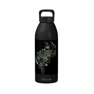 Black Mehndi PeacockLiberty Bottle Reusable Water Bottle